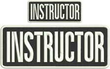 instructor embroidery patches 4x10 And 2x5 hook white letters