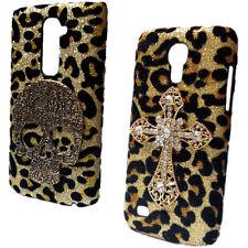 Bling Luxury Leopard Retro Skull Rhinestone Cross Back Hard Case Cover for Phone