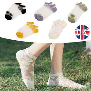 Women Mesh Transparent Sheer Lace Nylon Socks Floral Short Ankle Sock Hosiery..