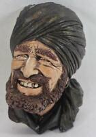 Vintage Man with Black Turban and Beard Chalkware Head Wall Hanging