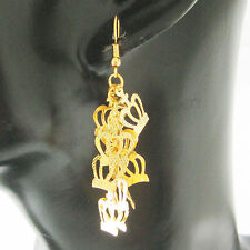 "EARRING CROWN SHAPED DANGLER TALL 60MM 2.36"" WIDTH 11MM 0.43"" 18K GOLD OVERLAY"