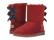 UGG Kids Girls Youth Size 2 Bailey Bow Bandana MRRD Red Winter Sheepskin Boots
