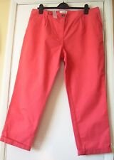 Ladies cotton roll up hem casual trousers size 18 vibrant coral BNWT