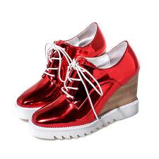 Womens Patent Wedge Heel Lace Up Chic Brogue Fashion Patent Punk Shoes ALL UK SZ