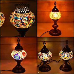 Colorful Mosaic Desk Lamp, Vintage Handmade Lighting Self Standing E12-E14 Bulb