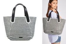 MELLOW YELLOW shopping bag VOILIER borsa donna bianco-nero rafia pelle BNWT