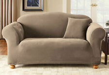 Sure Fit Taupe 1pc Loveseat Slipcover Pique Box Seat Cushion