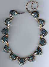 MATISSE VINTAGE COPPER SPECKLE BLUE GREEN ENAMEL LINKS NECKLACE