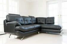 SANDY BIG CORNER SOFA BLACK FAUX LEATHER RIGHT HAND FACING CHAISE LOUNGE