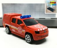 Majorette Volkswagen Amarok Red Fire Brigade Red Roof 1/65 203C no Package