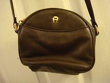 ETIENNE AIGNER Vintage Dark Brown Leather Cute Small Crossbody Purse Bag