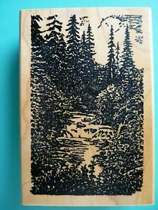 Woodsy Landscape with Flowing River Rubber Stamp