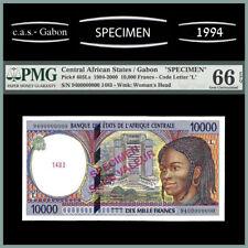 CENTRAL AFRICAN STATES - GABON - 10.000 FRANCS SPECIMEN PMG UNC 66