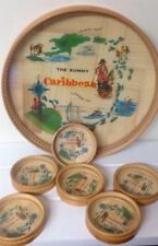 Vintage Bamboo The Sunny Caribbean Round Tray With Coasters Tiki Pirate Ship