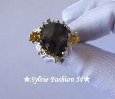 😍 Unique magnifique bague argent 925 et or Ciselée Labradorite Emeraude T 57,5