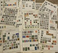 WW STAMP LOT ON ALBUM PAGES, STAMPS FROM OVER 25 WORLDWIDE COUNTRIES (NO U.S.)