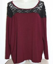 Women's Torrid Burgundy and Black Lace Top Blouse Plus Size 5, 5X Christmas