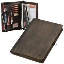 Schreibmappe A4 Leder braun Ringbuchmappe Konferenzmappe + Prospekthüllen