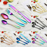 4PCS/1 Set Colorful Iridescent Fork Spoon Stainless Cutlery Set For Dining UK