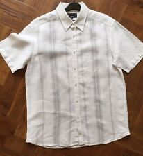 Autograph by Nigel Hall Pure Linen Short Sleeve Shirt Size M White Grey Stripe