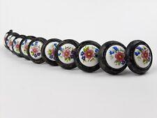 13 Vintage Cabinet Drawer Pulls Chippy Paint White Ceramic Floral Design Round