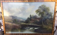 W. Stone Oil Painting On Canvas Landscape Ancient Farmhouse Stream Europe 32x22""