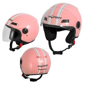 Motorcycle Quad Open Face Jet Helmet Apparel Scooter Visor Pink A-pro