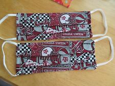 Set of 2 Texas A&M University AGGIE new  Design Fabric Face Mask Adult Size