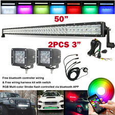 """5D RGB 50 inch Offroad Led Light Bar + 3"""" Pods & Music Bluetooth Control Wiring"""