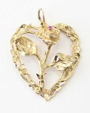14k Yellow Gold Diamond Cut Ruby Rose Heart Charm Necklace Pendant ~6.8g