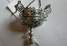 Late 19th Century Russian Moscow Hallmarked Solid Silver Incense Burner & Chain