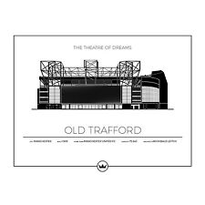 Manchester United Old Trafford Stadium Architect Drawing - 8x10 B&W Photo