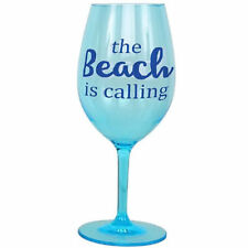 """The Beach is Calling"" Shatterproof Acrylic Wine Glass - 20583C"