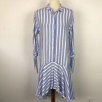 Zara Trafaluc Women Sz XS Dress Button Down Striped Asymmetric Pullover