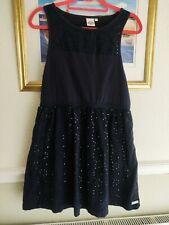 Superdry Vintage Premium Cotton Navy Broderie Dress Size Large UK 12 / 14