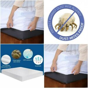 100% MICROFBER WATERPROOF ANTI DUST MITE QUILTED MATTRESS PROTECTOR FITTED COVER