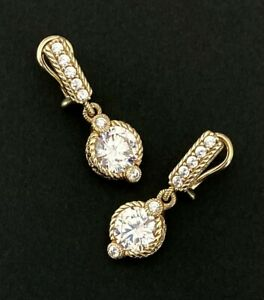 JUDITH RIPKA Sterling Silver 14K GOLD CLAD DIAMONIQUE Earrings~EXQUISITE!