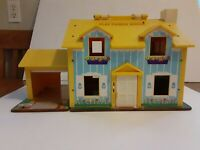 Fisher Price Little People Play Family Doll House 952 Blue Yellow Early Vintage