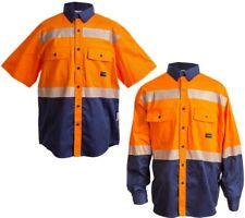 Reflective HV Work Shirt Men's Button Down Uniform High Vis Visibility Orange