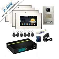 4 Monitor Residential Commercial Security Monitoring Video System Intercom Kit