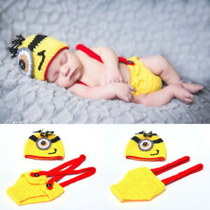 newborn yellow baby minions photo clothes hand knit Clothes Photo Prop hat