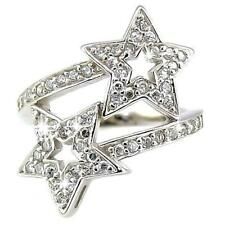Galaxy: Shooting Stars Ice on Fire CZ Designer Crossover Silver Ring