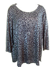 Chico's Zenergy 2 Womens Knit Top, Black Gray Floral 3/4 Sleeve Modal, Large 12