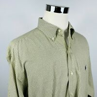 Polo Ralph Lauren Mens 2XLT Tall Button Down Shirt Green White Checker Cotton