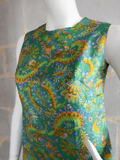 Robe Mini Vintage vert psychedelique Tissu Cachemire T. XS à S vert