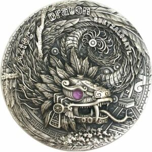 Aztec Dragon Dragons 2 oz Antique finish Silver Coin 2$ Niue 2020