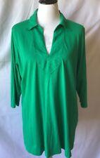 Ralph Lauren V Neckline Tunic Top Cotton Linen Look Collar Sz Plus 2X Super NICE