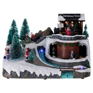 LED Musical Christmas Rotating Village Scene 27cm Decoration Christmas Trees