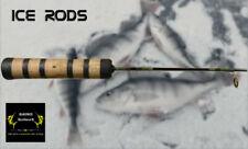 "24"" Custom Ice Fishing Rod - Medium Power Trout Trouble - Olive Tan Green"