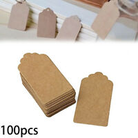 100pcs Brown Kraft Paper Gift Tags Scallop Label Blank Luggage Tags